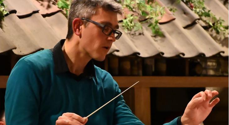 Alexandre Kosmicki en Francis Maes docenten tijdens dirigentenweek Entornos